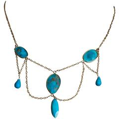 Turquoise Multi Drop Gold Filled Necklace