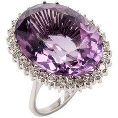 Large Amethyst Diamond White Gold Cocktail Ring