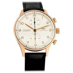 IWC Rose Gold Portuguese Chronograph Automatic Wristwatch Ref 3714