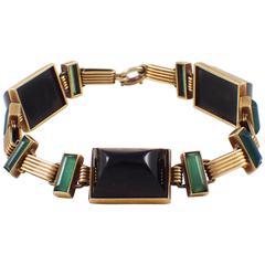 1920s Onyx Gold Art Deco Bracelet