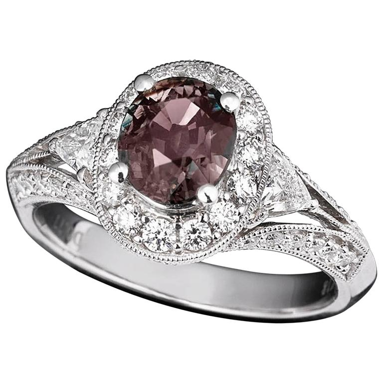 Alexandrite Diamond Gold Filigree Ring