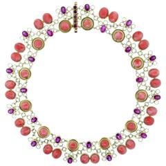 Laura Munder Coral Pink Tourmaline Gold Link Choker Necklace