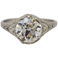 1920s Art Deco 2.82 Carats GIA Cert Diamonds Platinum Engagement Ring