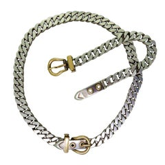Classic Hermes Silver Gold Buckle Necklace Bracelet Set