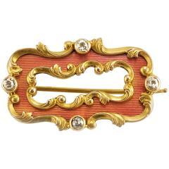 Fabergé Oscar Pihl Antique Russian Guilloché Enamel Diamond Gold Brooch