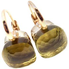 Pomellato Nudo Lemon Quartz Two Color Gold Earrings