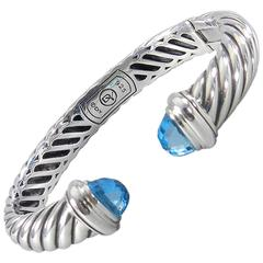 David Yurman Waverly Blue Topaz Sterling Silver Cuff Bracelet