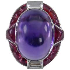 1930s Art Deco Ruby Cabochon Amethyst Diamond Platinum Ring