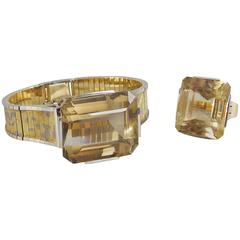 Retro Style Eszeha Smoky Citrine Gold Bracelet and Ring Set