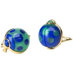 Charming Lapis Chrysoprase Gold Lady Bug Earrings