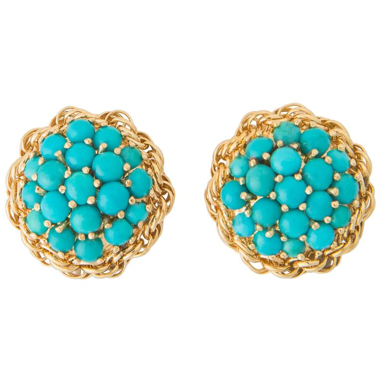 cartier turquoise gold earrings at 1stdibs. Black Bedroom Furniture Sets. Home Design Ideas