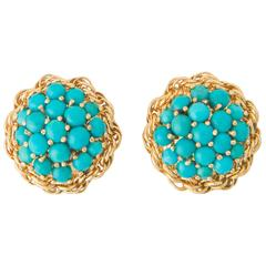 Cartier Turquoise Gold Earrings