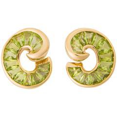 Verdura Peridot Gold Crescent Earrings