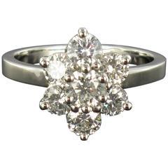 New French Diamond Platinum Daisy Ring