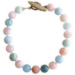 Beryl Aquamarine Morganite Choker Necklace w/ Opal Mother of Pearl Toggle Clasp