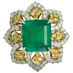 Emerald Yellow Diamond Platinum Ring