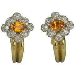 Keith Davis Sapphire Diamond Gold Earrings