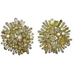 Diamond Gold Snowflake Earrings