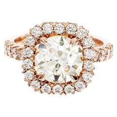 Peter Suchy Diamond Halo Rose Gold Engagement Ring
