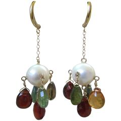 Marina J Pearl, Multicolor Tourmaline Briolette Yellow Gold Dangle Earrings