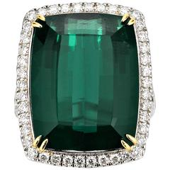 22.64 Carat Green Tourmaline Diamond Gold Ring