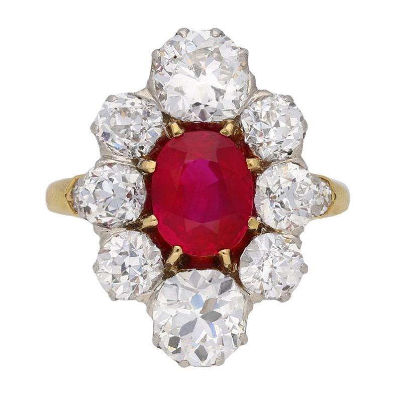 Antique Natural Unenhanced Burmese Ruby Diamond Cluster Ring, circa 1905