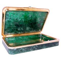 Jadeite Box in Carved Gold Circa 1920