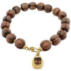 Judith Ripka Whimsical Wood Smokey Quartz Gold Necklace