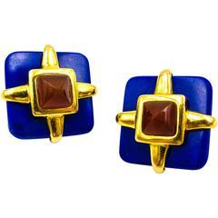Cartier Aldo Cipullo Bold Lapis Carnelian Gold Earclips