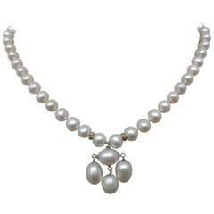 Marina J Pearl Necklace with Baroque Pearl Centerpiece & 14k Gold Clasp