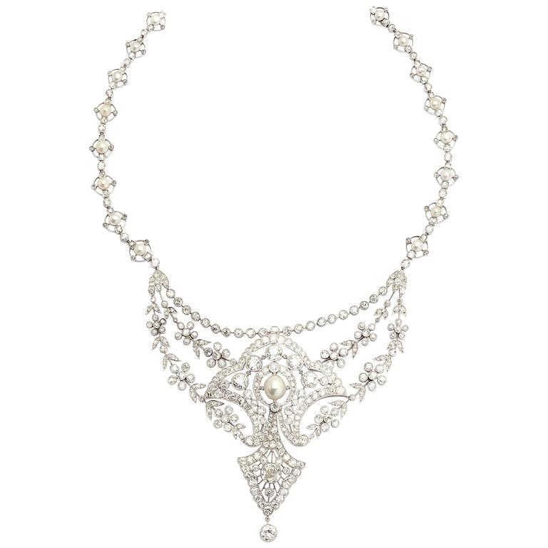Belle Epoque Diamonds Natural Pearls Necklace  For Sale
