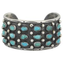 Roger Skeets Native American Turquoise Sterling Silver Cuff Bracelet