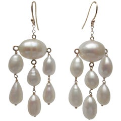 Marina J Oval and Teardrop Baroque Pearl Dangle Earrings with 14 K Gold Wire