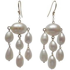Oval and Teardrop Baroque Pearl Dangle Earrings with Gold Wire