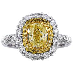 1.00 Carat Cushion Cut Canary Diamond Gold Cluster Ring