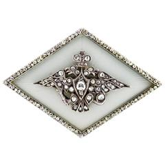 Fabergé Antique Russian Imperial Presentation Diamond Gold Enamel Brooch