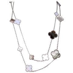 Van Cleef & Arpels Magic Alhambra Mother of Pearl Chalcedony 16 Motif Necklace