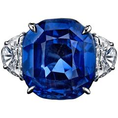 16.33 Carat No-Heat Sri Lankan Sapphire Diamond Platinum Ring