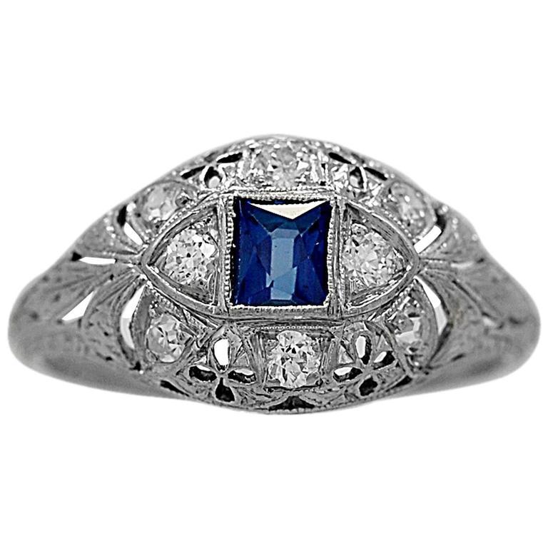 Antique Sapphire Diamond Platinum Engagement Ring at 1stdibs