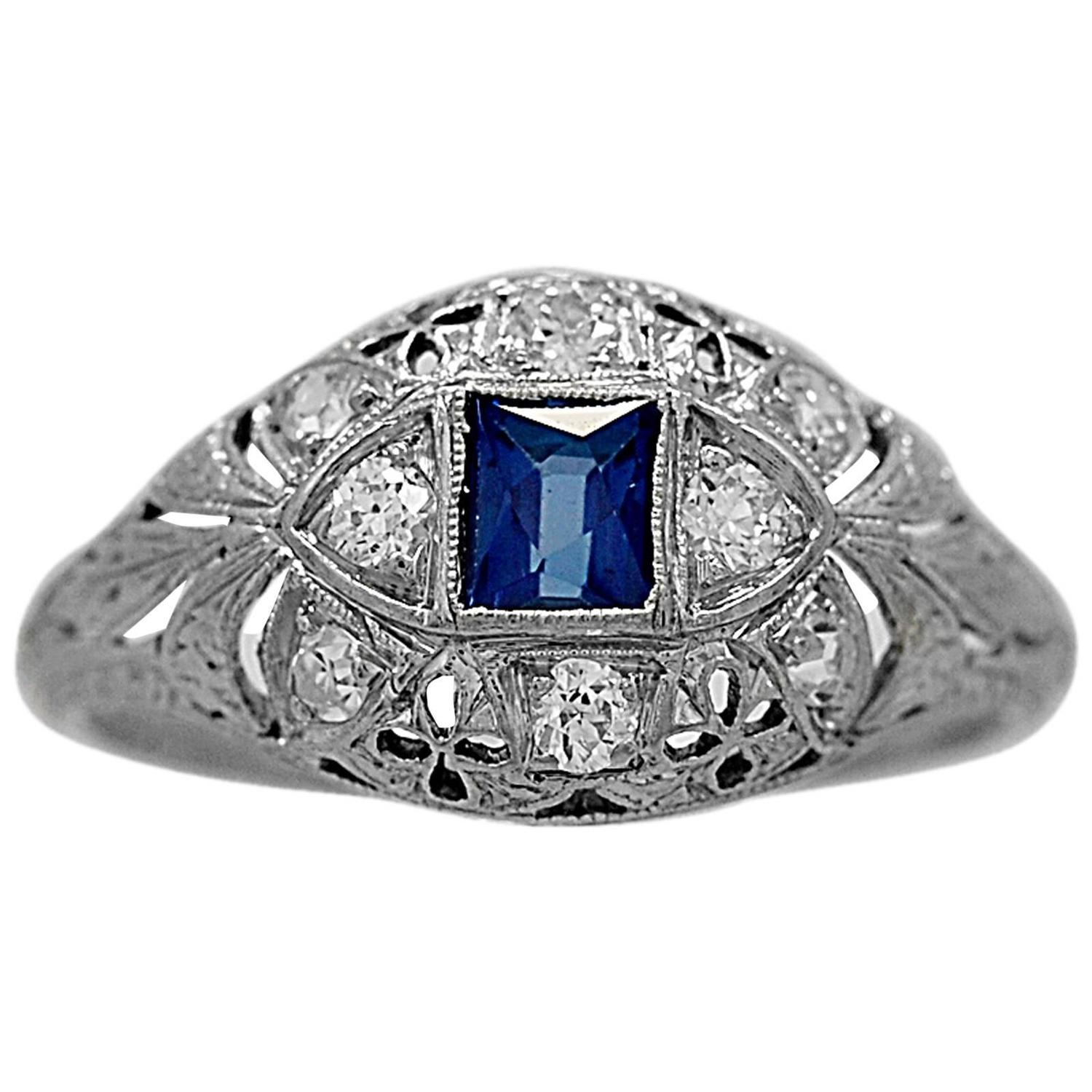 antique sapphire platinum engagement ring at 1stdibs
