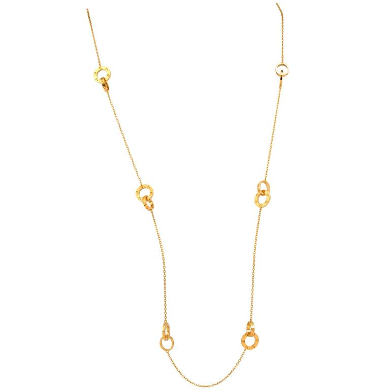 Cartier Love Rings Gold Chain Link  Necklace