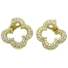 Van Cleef & Arpels Alhambra Collection Diamond Gold Earrings