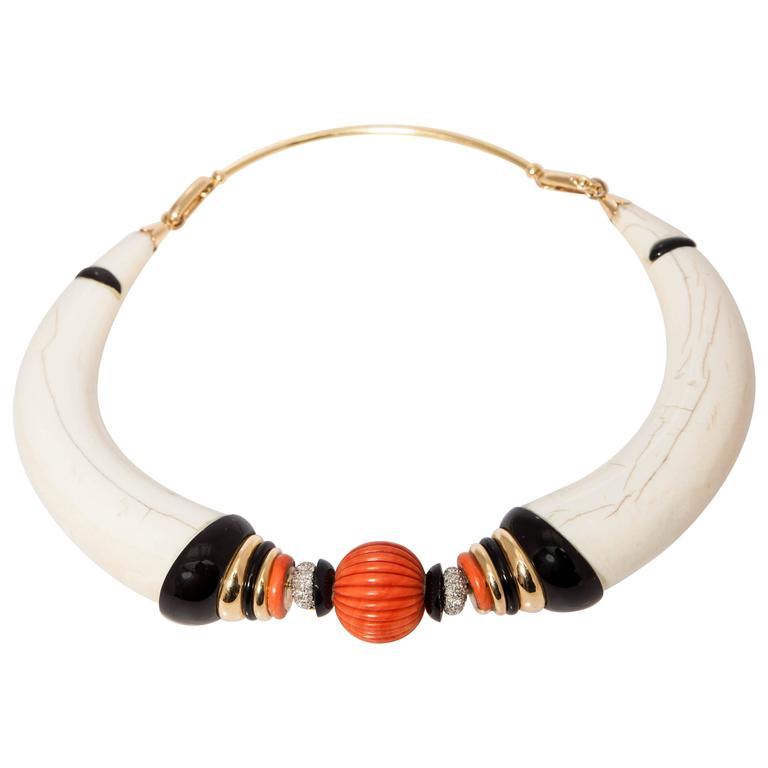 Coral Onyx Diamond Bone Gold Necklace