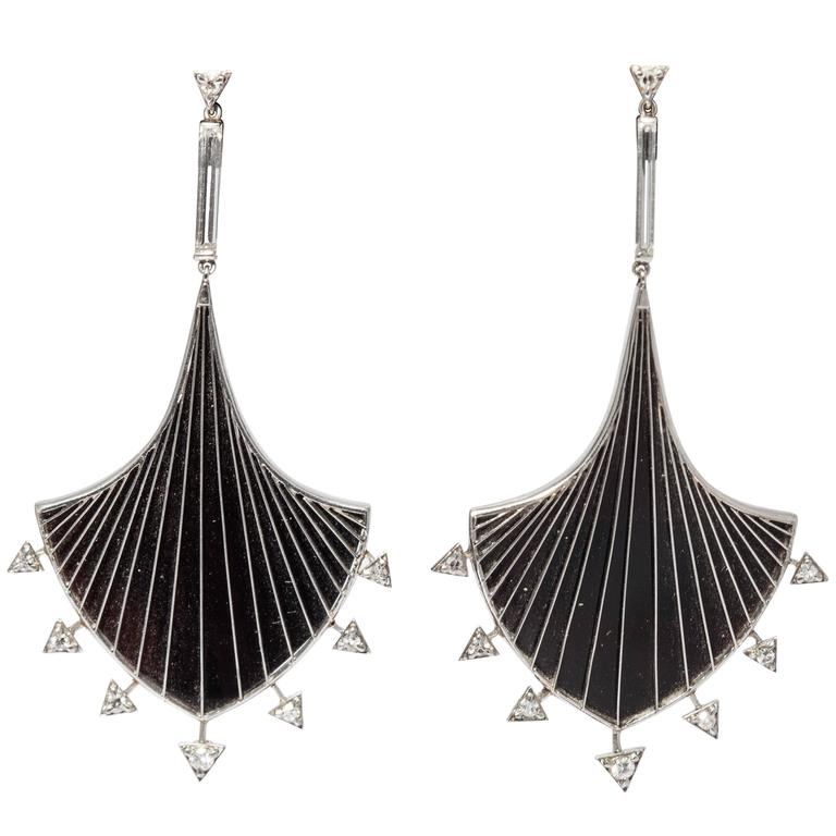 Art Deco Onyx Diamond Platinum Geometrical Set  For Sale