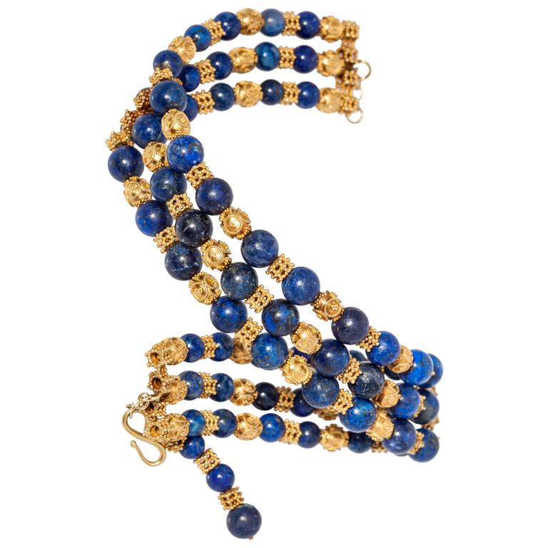 1970s Lapis Gold Choker Necklace