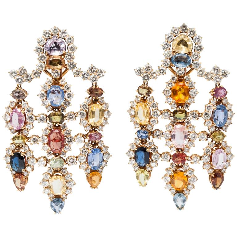 1960s Multicolor Natural Sapphire Diamond Gold Chandelier Ear Pendants  For Sale