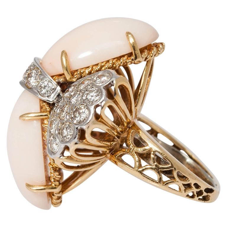 1960 Light Coral Diamond Gold Ring