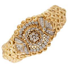David Webb Rolex Ladies Diamond Gold Bracelet Wristwatch