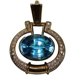 Blue Topaz Diamond Gold Pendant