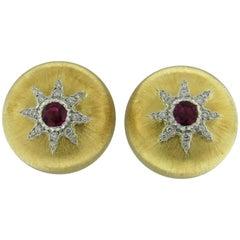 Buccellati Gold Ruby Button Earrings